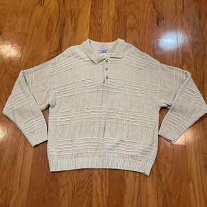 Sweater Collared Neutral color Size XL Open Weave